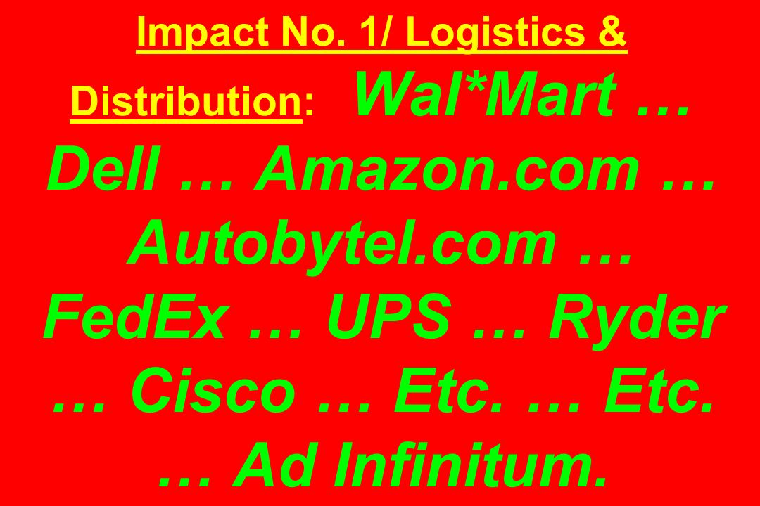 Impact No. 1/ Logistics & Distribution: Wal. Mart … Dell … Amazon