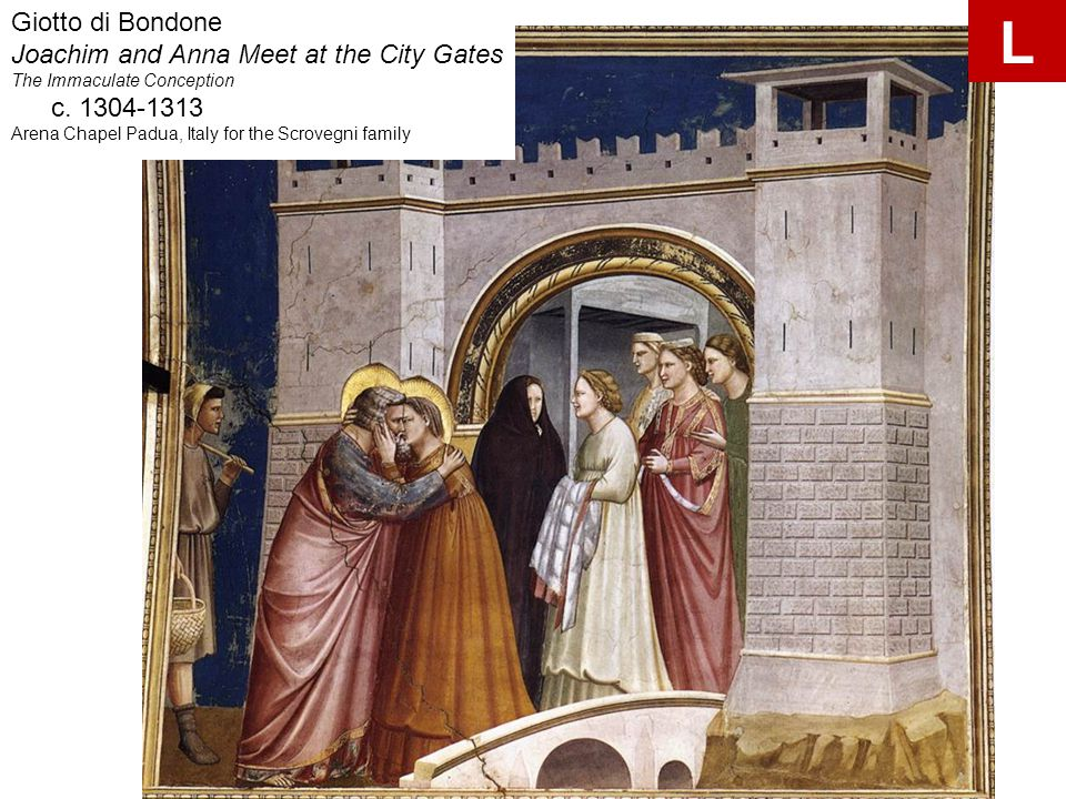 L Giotto di Bondone Joachim and Anna Meet at the City Gates