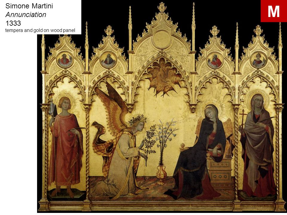 Simone Martini Annunciation 1333 tempera and gold on wood panel