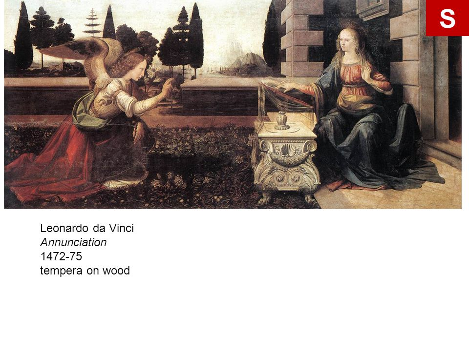 S Leonardo da Vinci Annunciation 1472-75 tempera on wood