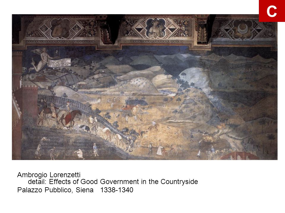 C Ambrogio Lorenzetti detail: Effects of Good Government in the Countryside.