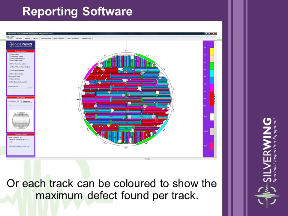 Reporting Software Or each track can be coloured to show the maximum defect found per track.