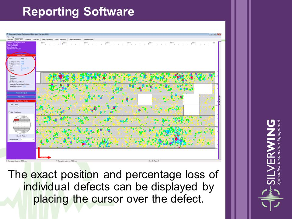 Reporting Software The exact position and percentage loss of individual defects can be displayed by placing the cursor over the defect.