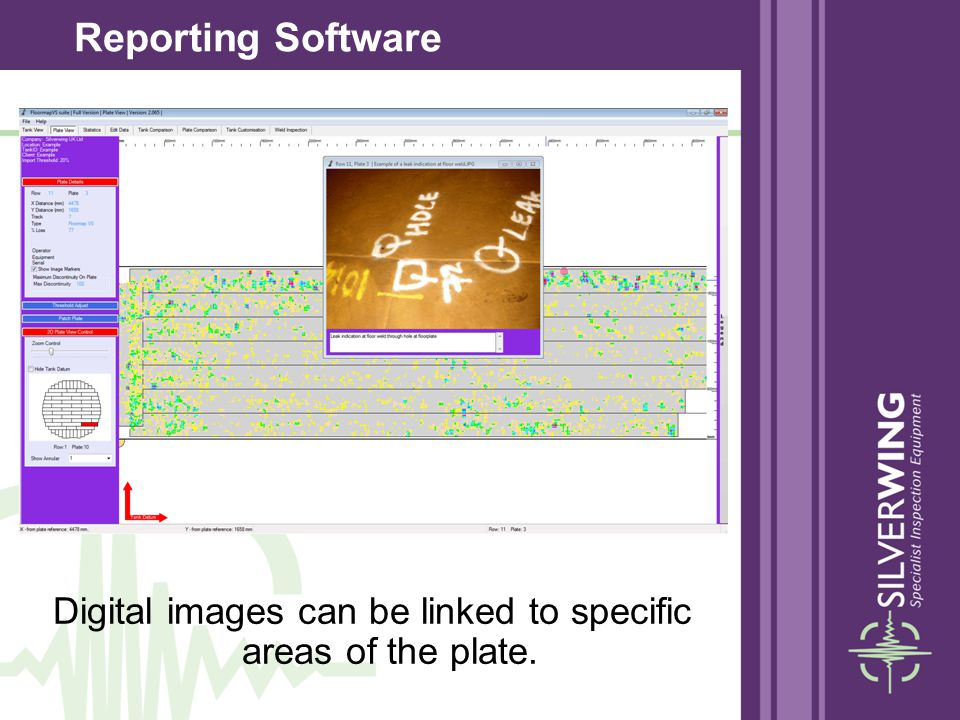 Digital images can be linked to specific areas of the plate.