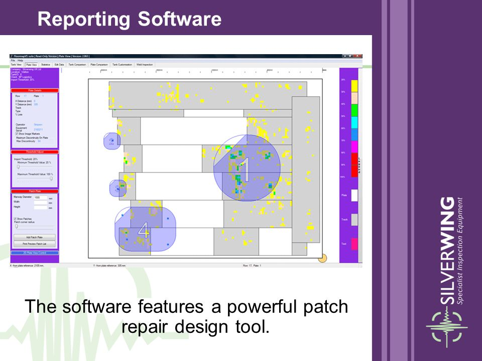The software features a powerful patch repair design tool.
