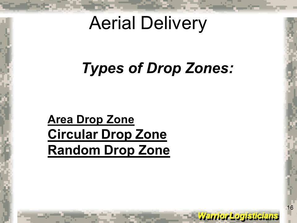Types of Drop Zones: Circular Drop Zone Random Drop Zone