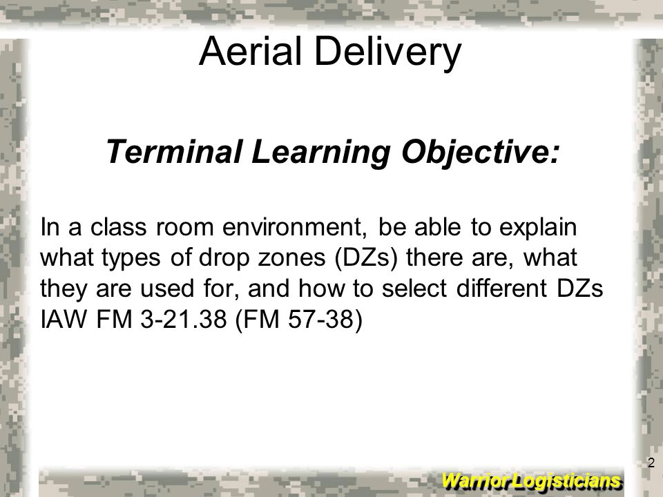 Terminal Learning Objective: