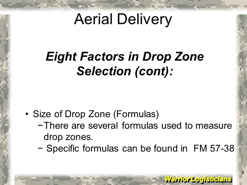 Eight Factors in Drop Zone
