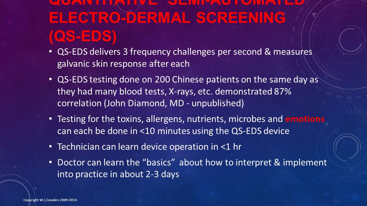 Quantitative Semi-automated Electro-Dermal Screening (QS-EDS)