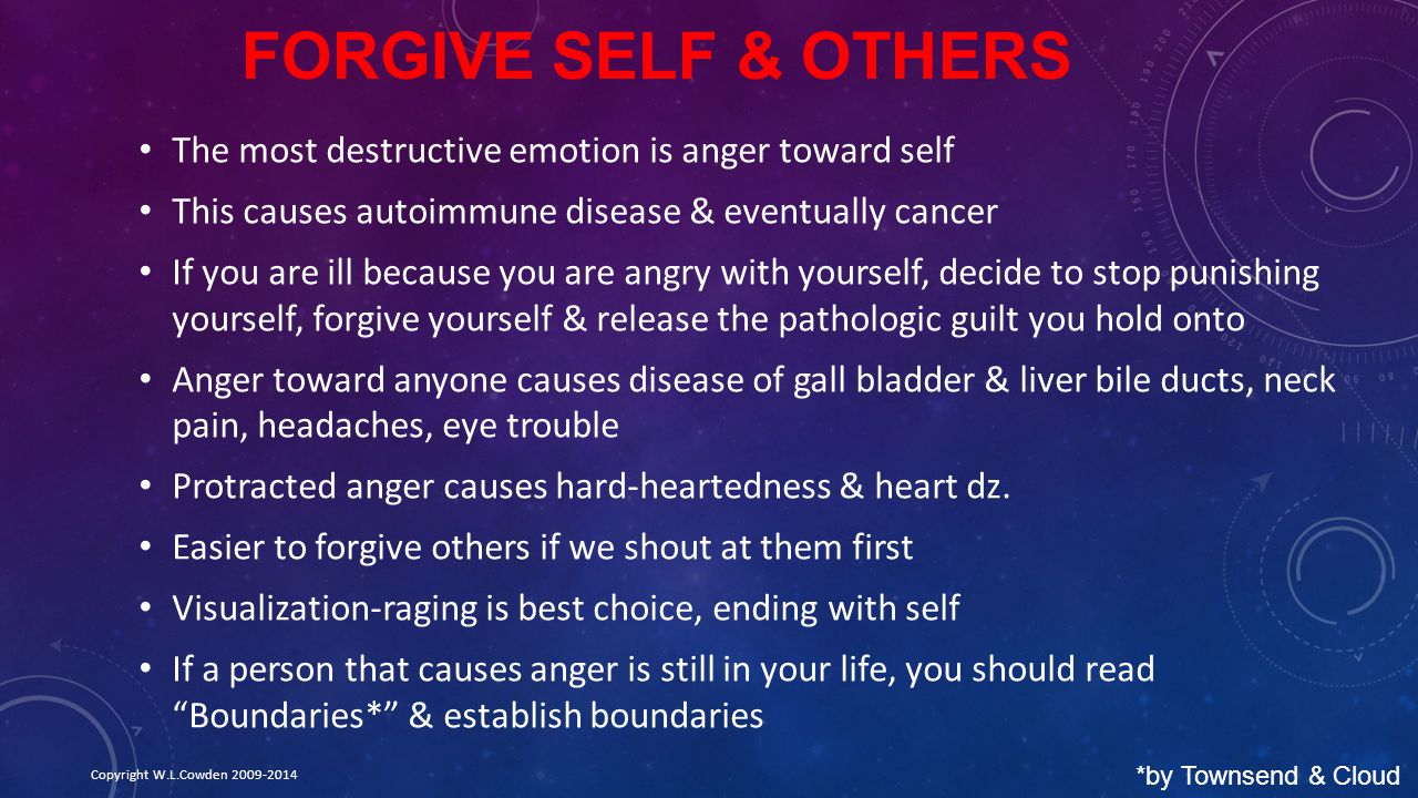 Forgive Self & Others The most destructive emotion is anger toward self. This causes autoimmune disease & eventually cancer.