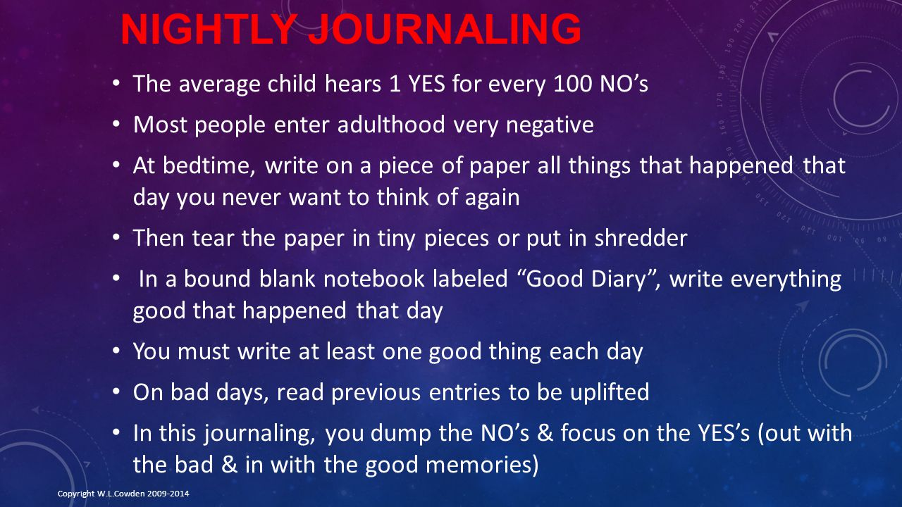 Nightly Journaling The average child hears 1 YES for every 100 NO's
