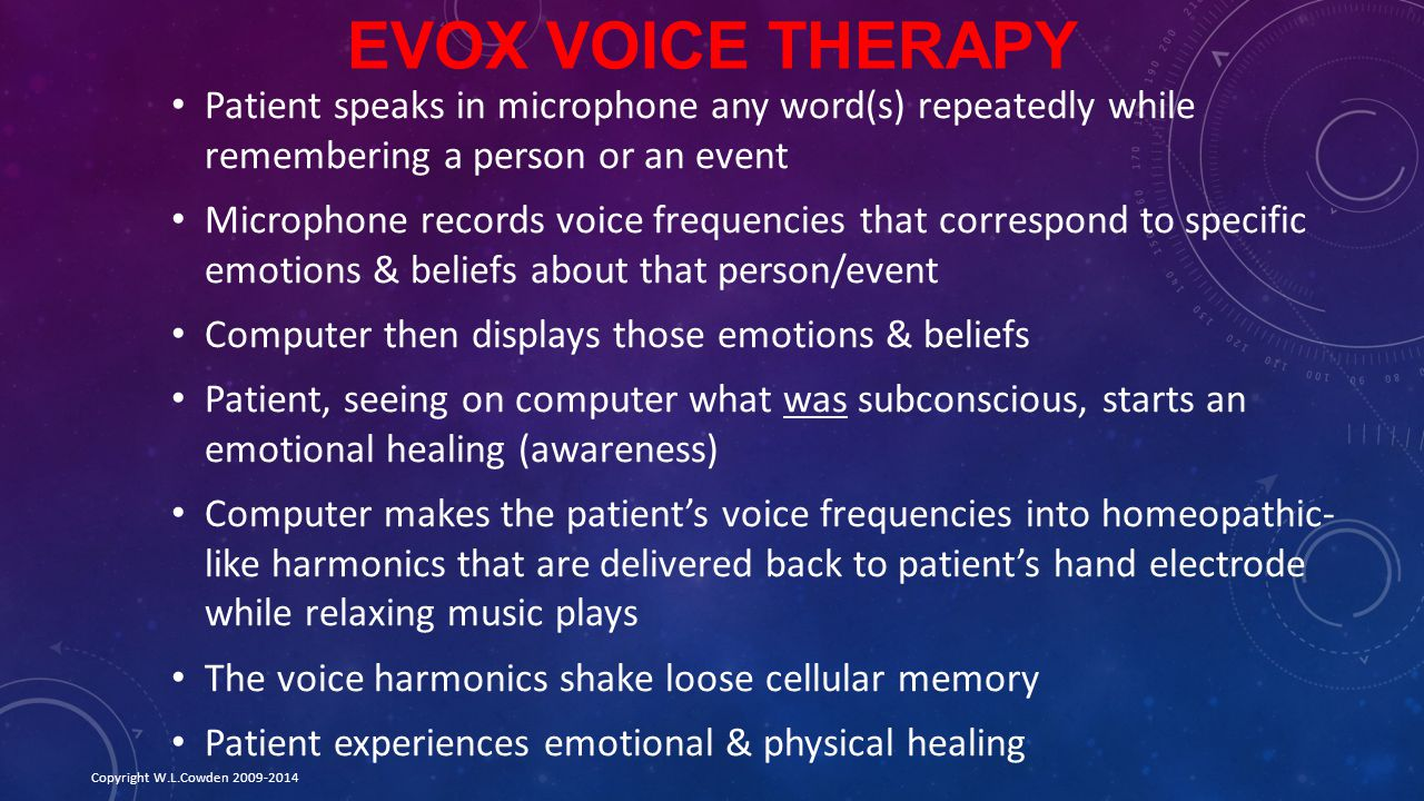 Evox Voice Therapy Patient speaks in microphone any word(s) repeatedly while remembering a person or an event.