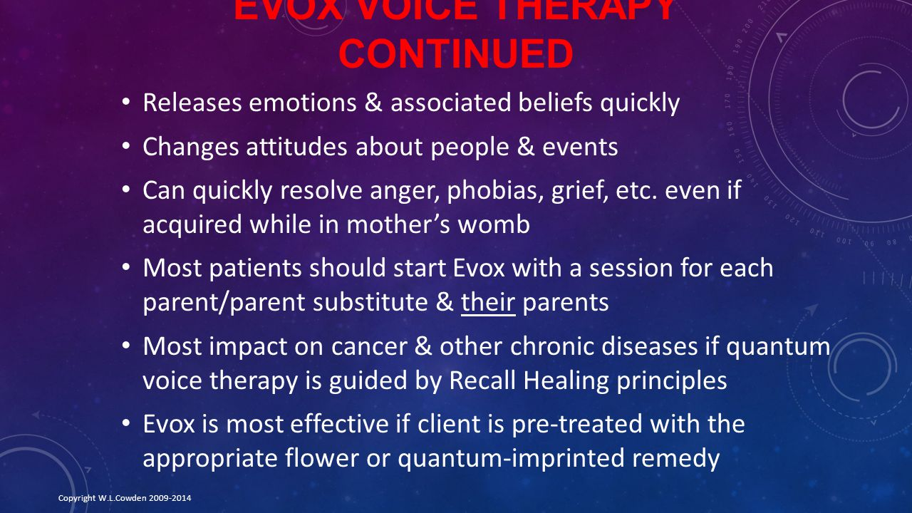 Evox Voice Therapy Continued