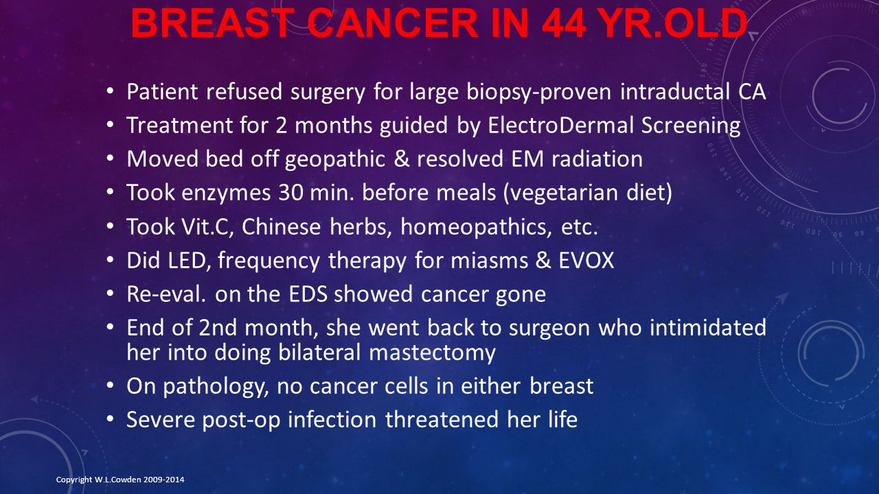 Breast Cancer in 44 yr.old Patient refused surgery for large biopsy-proven intraductal CA. Treatment for 2 months guided by ElectroDermal Screening.