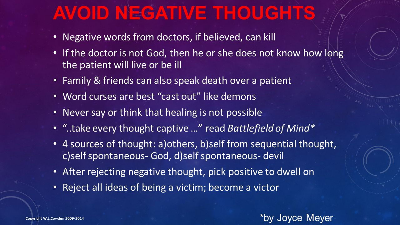 Avoid Negative Thoughts