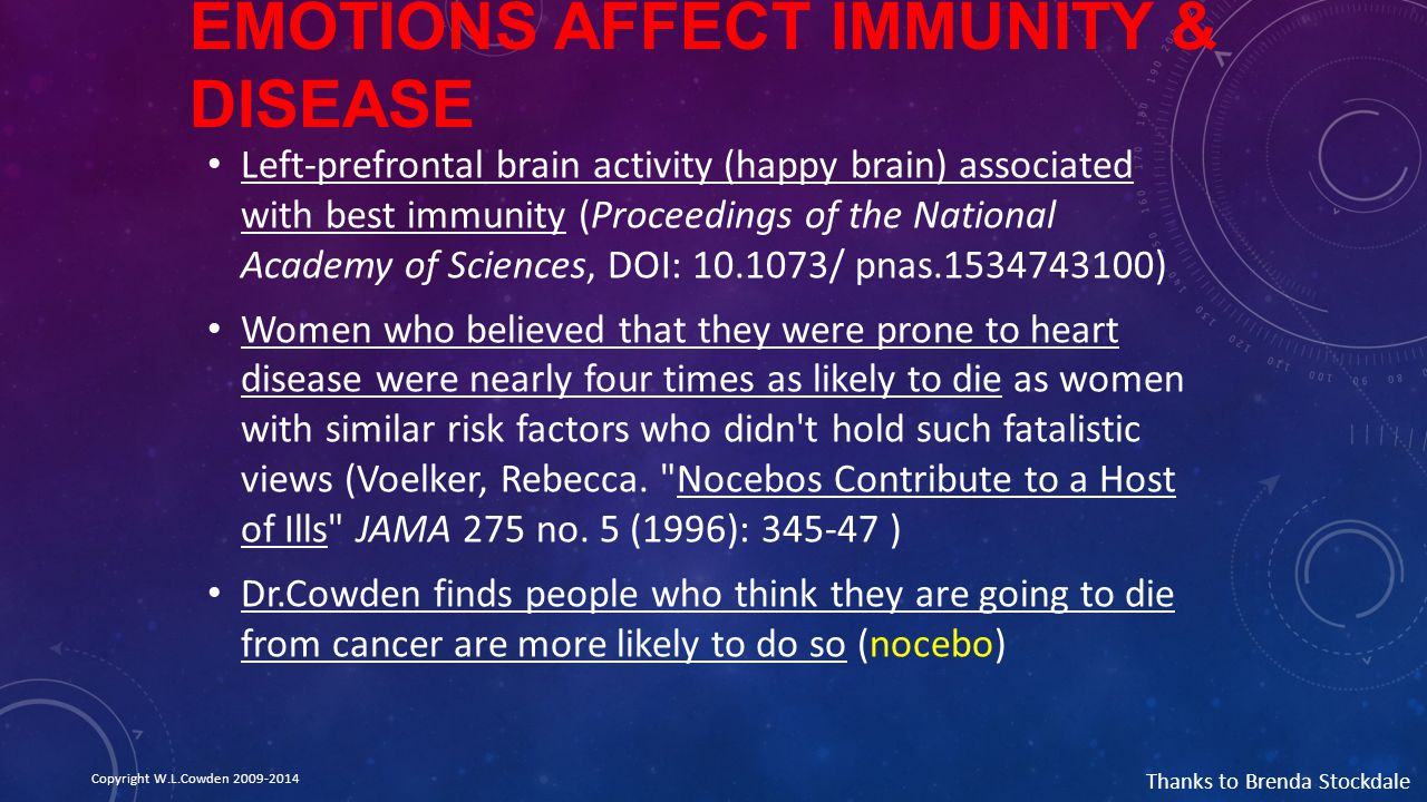 Emotions Affect Immunity & Disease