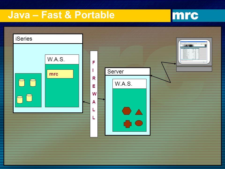 Java – Fast & Portable iSeries W.A.S. Server W.A.S. mrc F I R E W A L