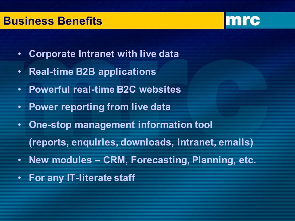 Business Benefits Corporate Intranet with live data