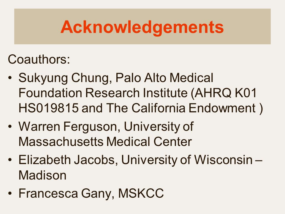 Acknowledgements Coauthors:
