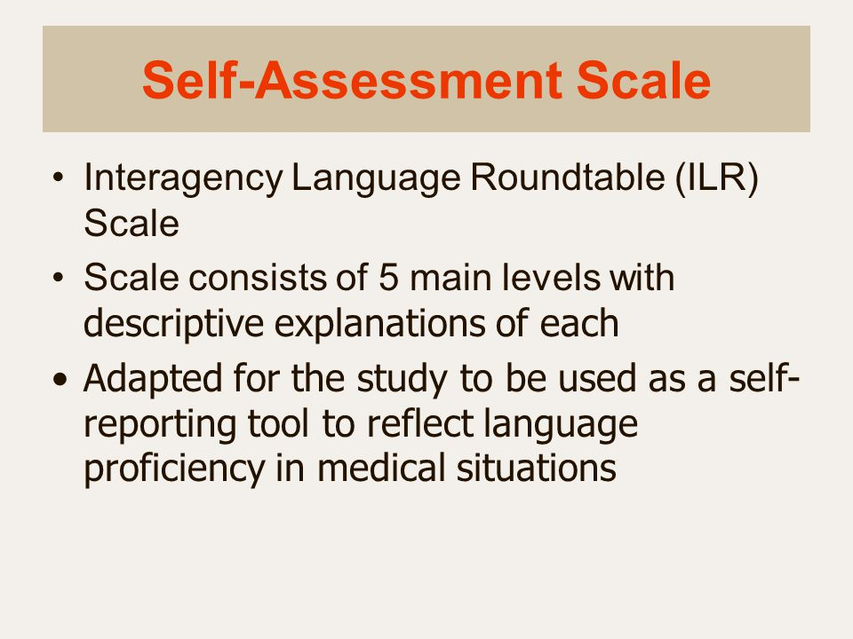 Self-Assessment Scale