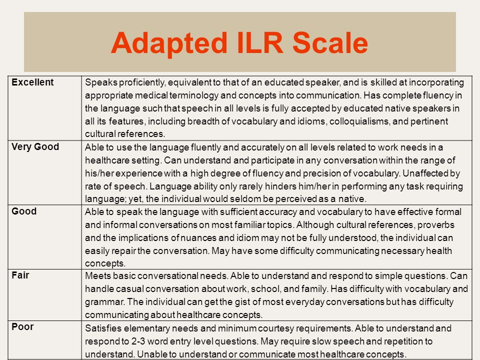 Adapted ILR Scale Excellent