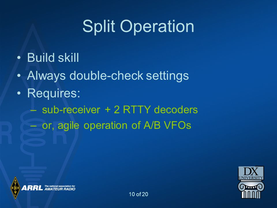 Split Operation Build skill Always double-check settings Requires: