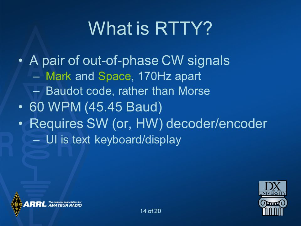 What is RTTY A pair of out-of-phase CW signals 60 WPM (45.45 Baud)