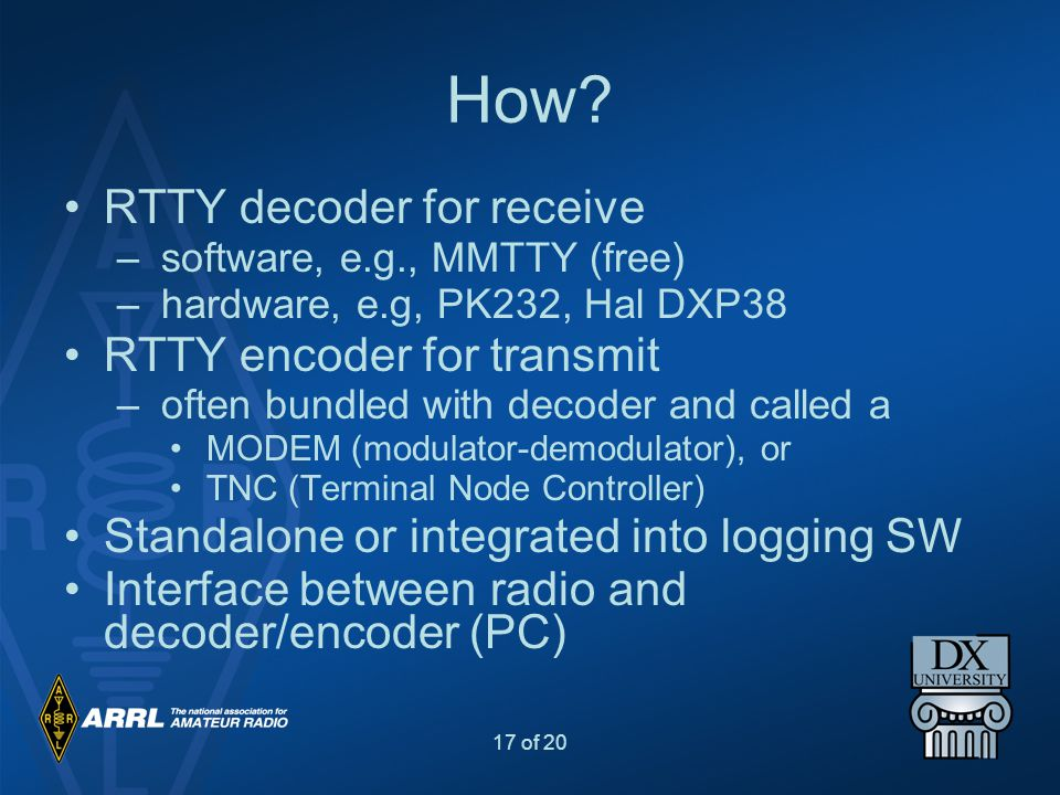 How RTTY decoder for receive RTTY encoder for transmit