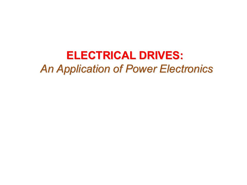 An Application of Power Electronics