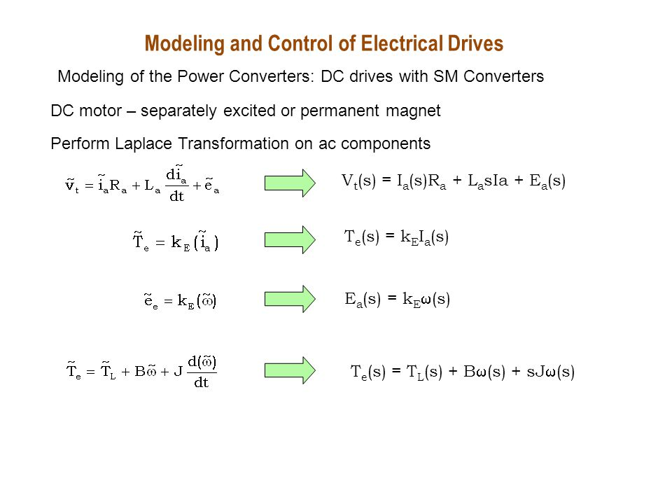 Modeling and Control of Electrical Drives