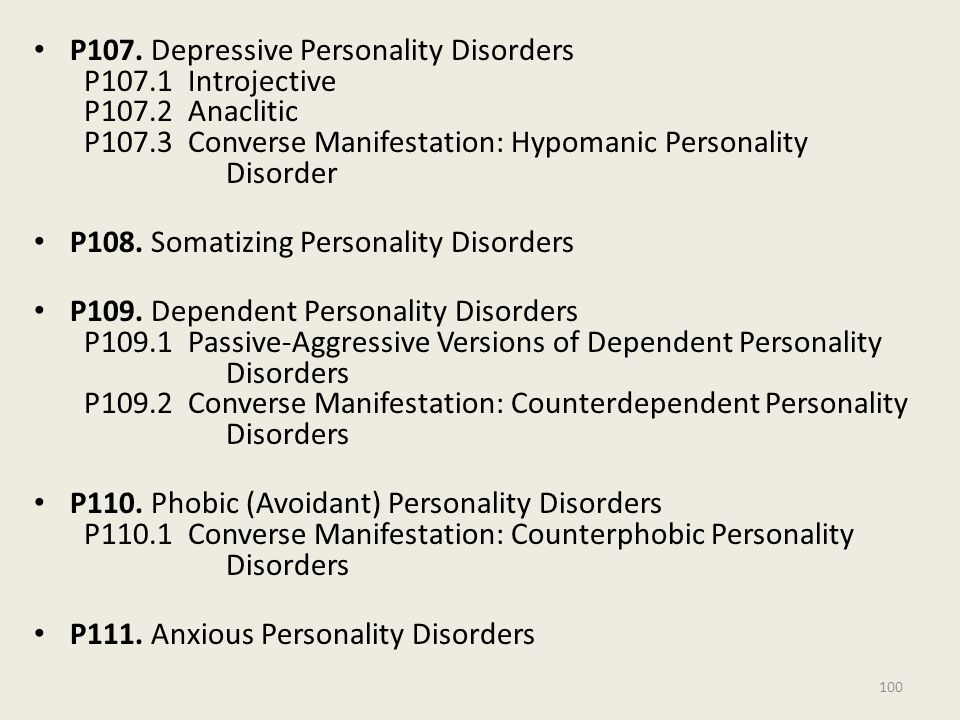 P107. Depressive Personality Disorders P107. 1 Introjective P107