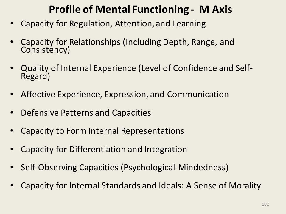 Profile of Mental Functioning - M Axis