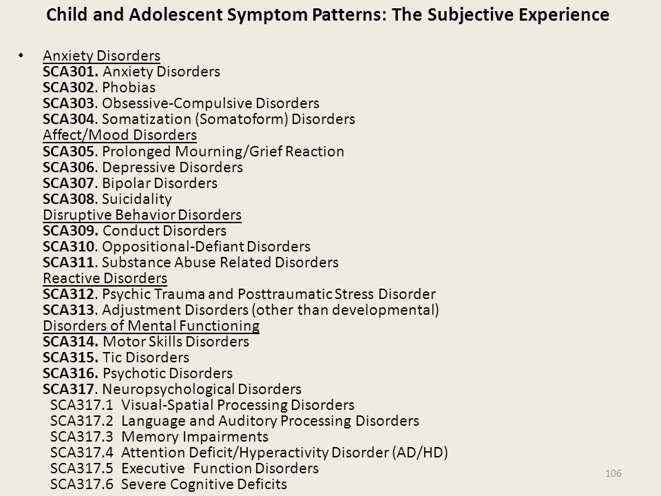 Child and Adolescent Symptom Patterns: The Subjective Experience