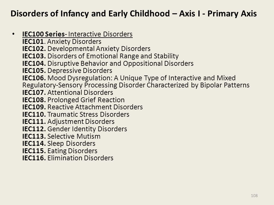 Disorders of Infancy and Early Childhood – Axis I - Primary Axis