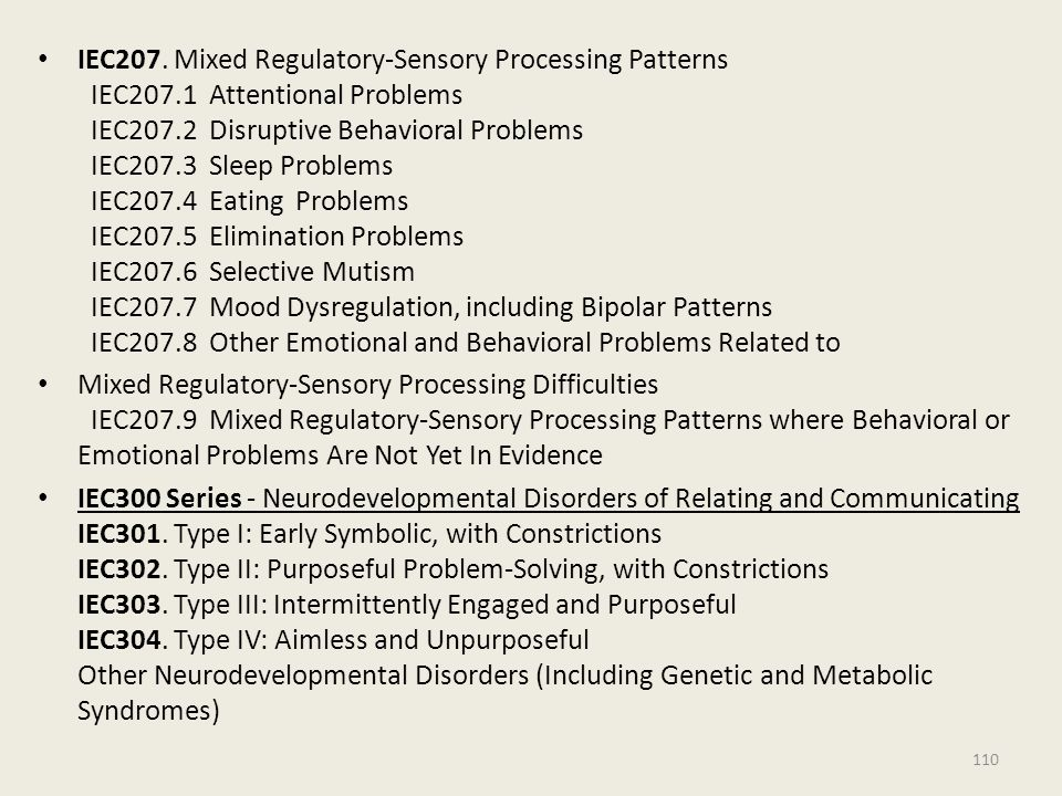 IEC207. Mixed Regulatory-Sensory Processing Patterns IEC207