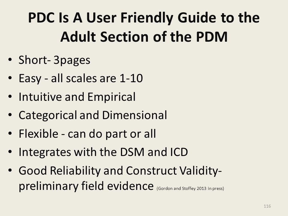PDC Is A User Friendly Guide to the Adult Section of the PDM