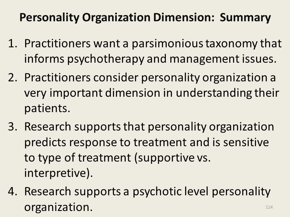 Personality Organization Dimension: Summary