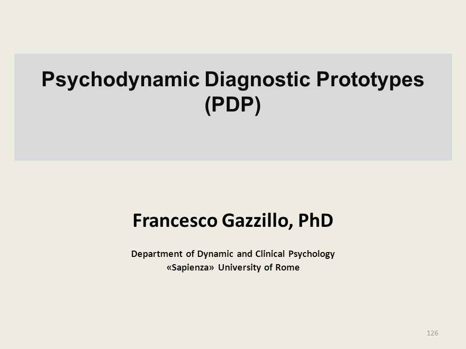 Psychodynamic Diagnostic Prototypes (PDP)