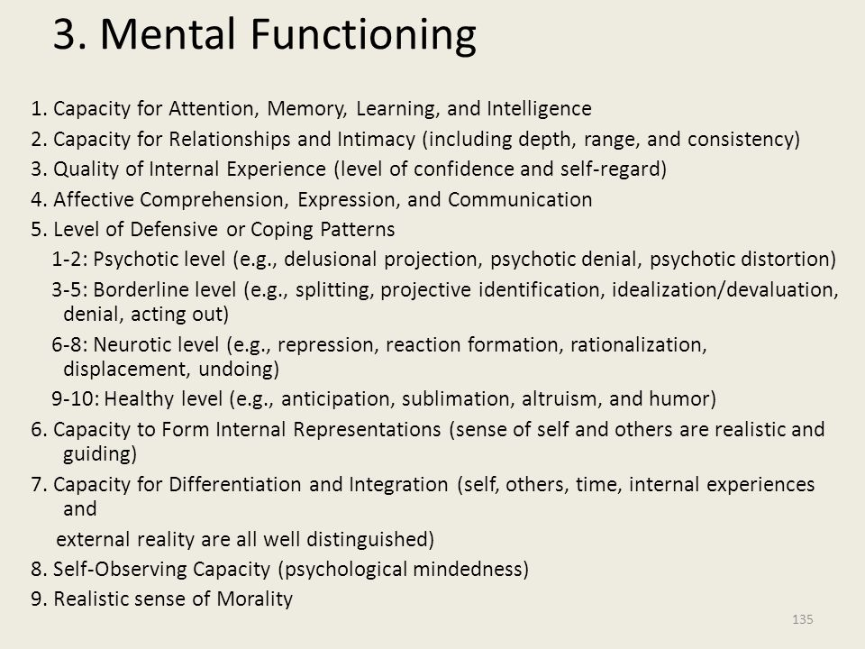 3. Mental Functioning 1. Capacity for Attention, Memory, Learning, and Intelligence.