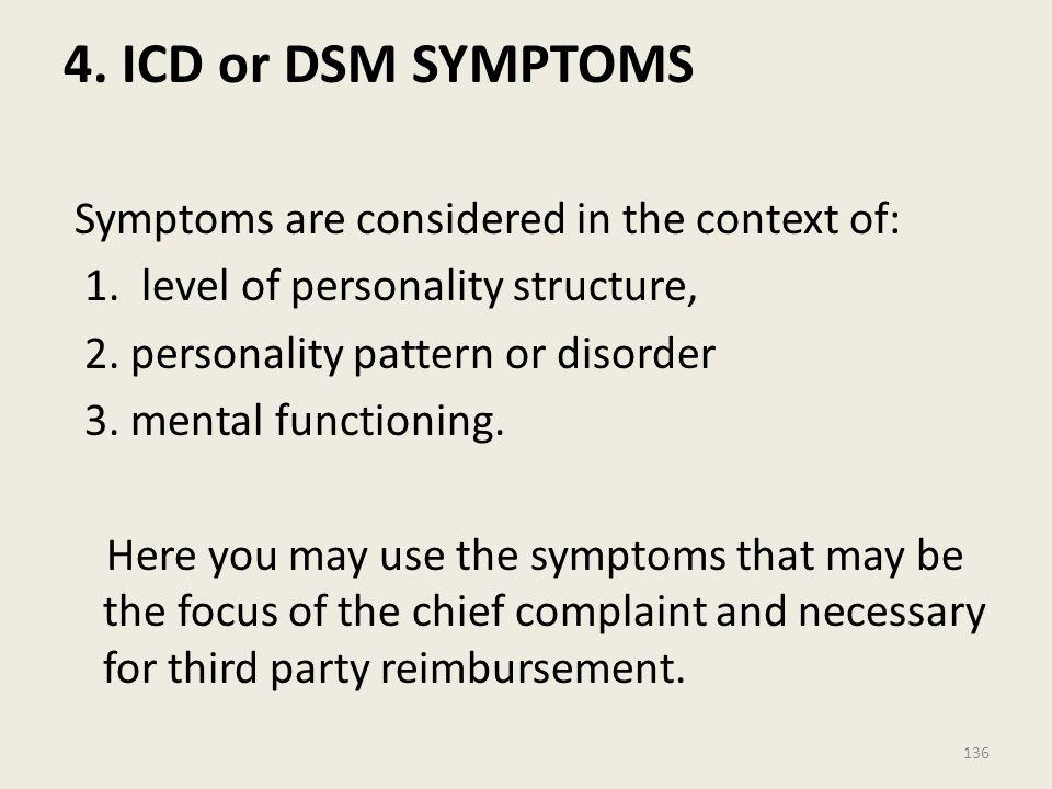 4. ICD or DSM SYMPTOMS
