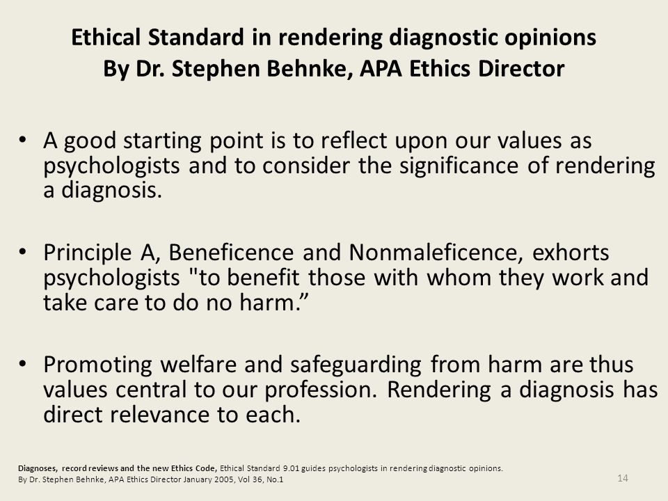 Ethical Standard in rendering diagnostic opinions By Dr