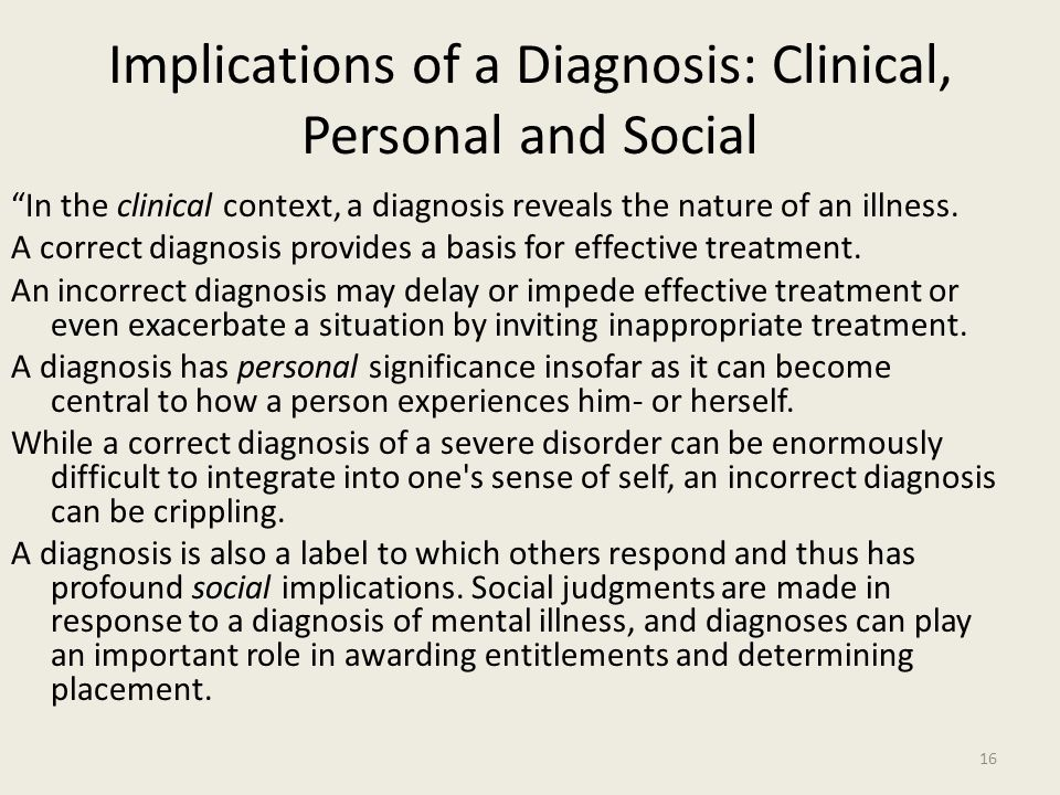 Implications of a Diagnosis: Clinical, Personal and Social