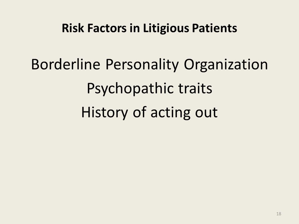 Risk Factors in Litigious Patients