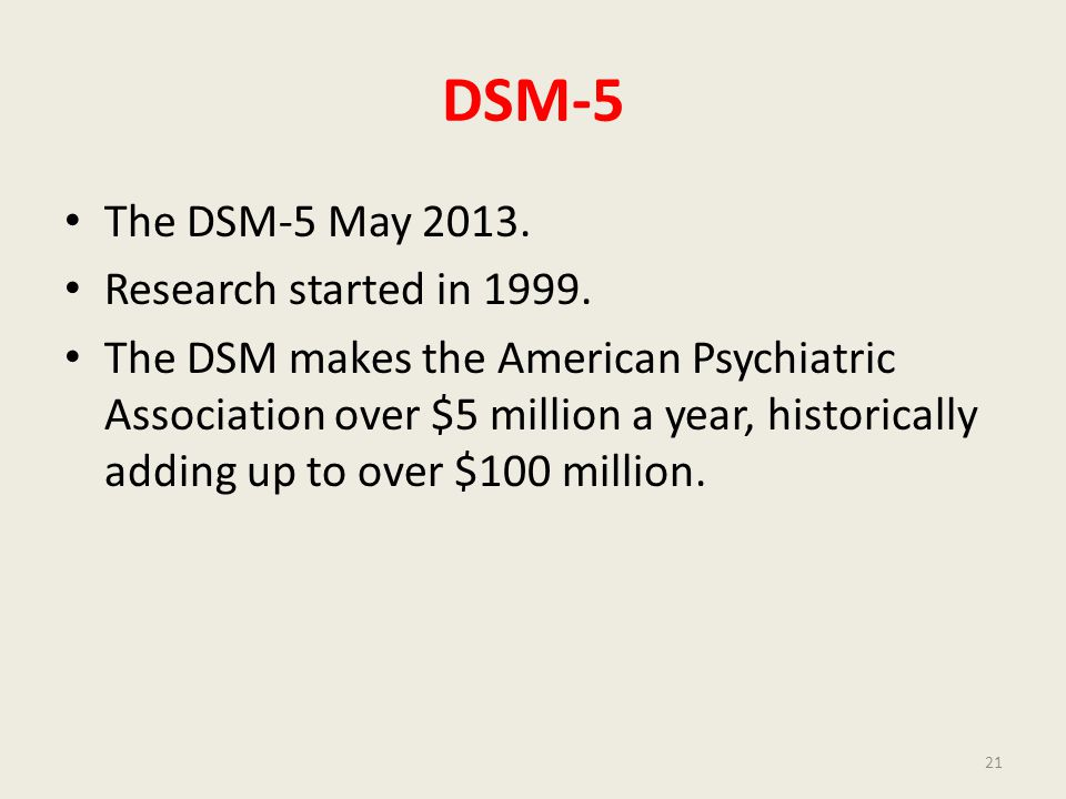 DSM-5 The DSM-5 May 2013. Research started in 1999.