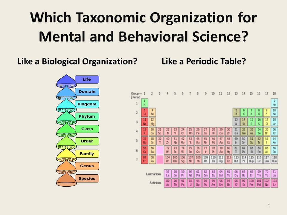 Which Taxonomic Organization for Mental and Behavioral Science