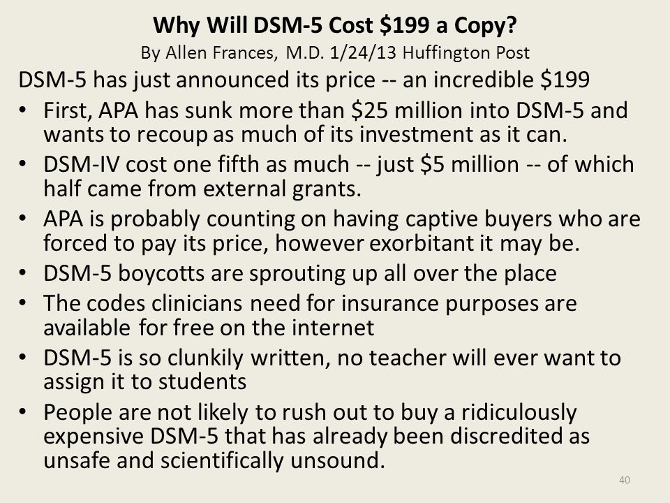 Why Will DSM-5 Cost $199 a Copy