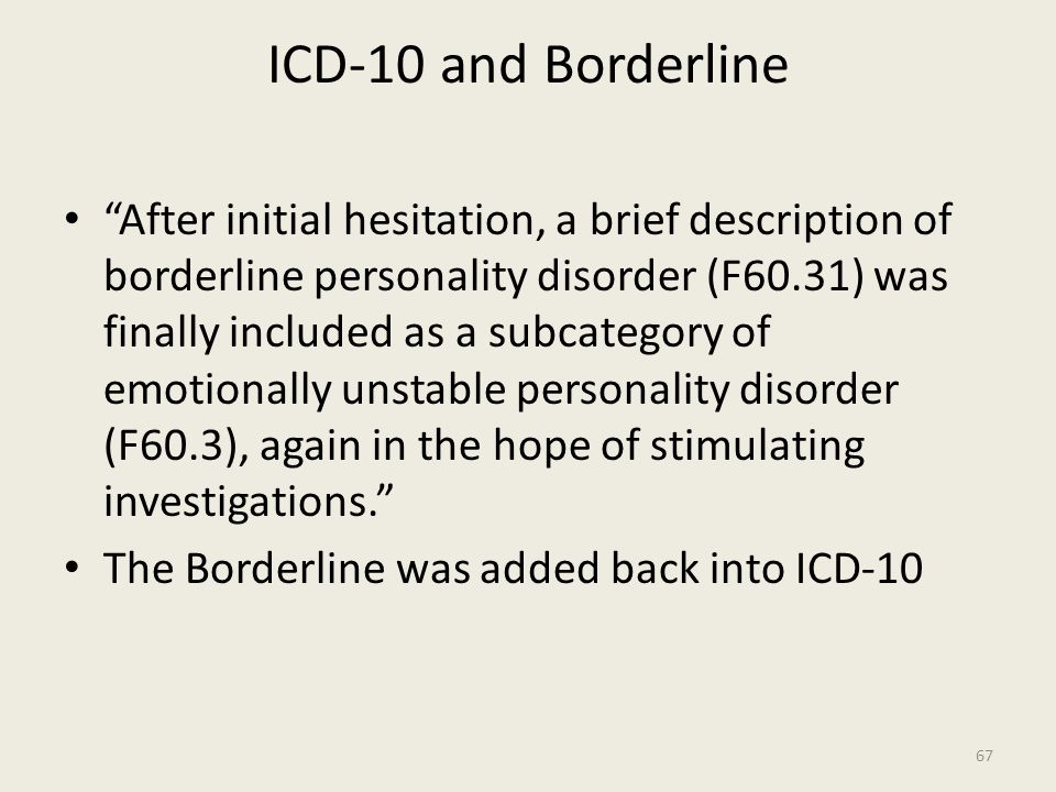 ICD-10 and Borderline