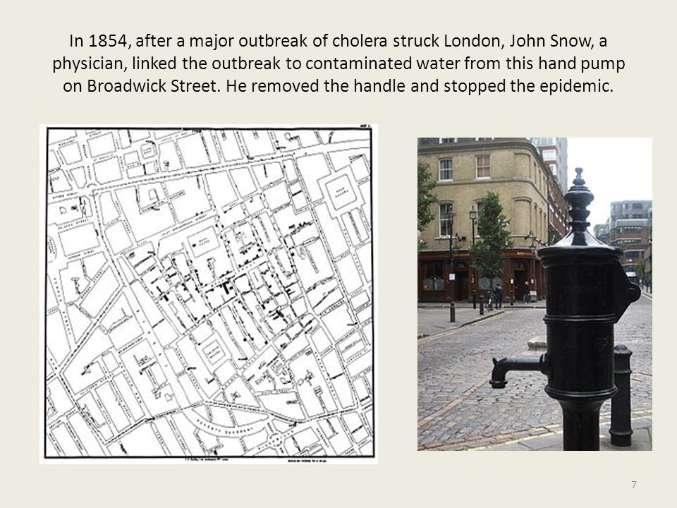 In 1854, after a major outbreak of cholera struck London, John Snow, a physician, linked the outbreak to contaminated water from this hand pump on Broadwick Street.