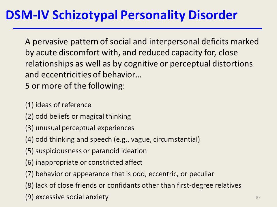 DSM-IV Schizotypal Personality Disorder