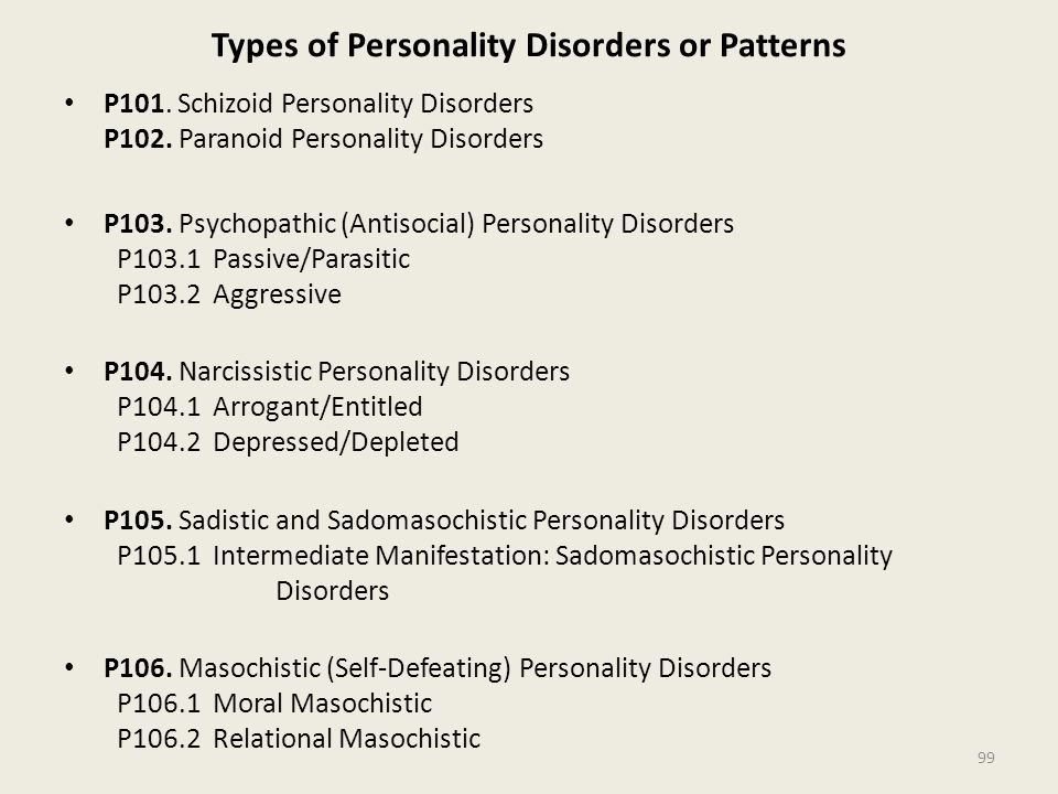 Types of Personality Disorders or Patterns